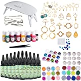 10 Pieces 30ML Crystal Epoxy Resin + UV Led Lamp, 38 Open Back Bezels with 2x5 Meters Adhesive Tapes, 1XGem Mold +13 Pigment+48 Decoration with Tweezer for Crafting Jewelry Necklace Bracelet Making (Tamaño: 300ML Resin+38Bezel+13pigment+48Decor+Lamp)
