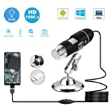USB Microscope,1000 x High Resolution Digital Mini Microscope Camera with OTG Adapter and Metal Stand,Compatible for Micro USB Type-C Android, Windows Mac Linux (Color: Black)