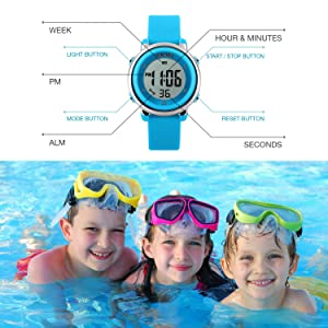 Kids Digital Sport Watch, Boys Sports Outdoor Watches, Girls LED Waterproof Electrical Watch with Alarm Children Stopwatch - Blue (Color: Blue)
