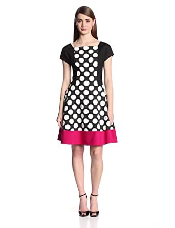 Love Moschino Women's Short Sleeve Polka Dot Fit and Flare Dress, Black/White Polka Dots, 38
