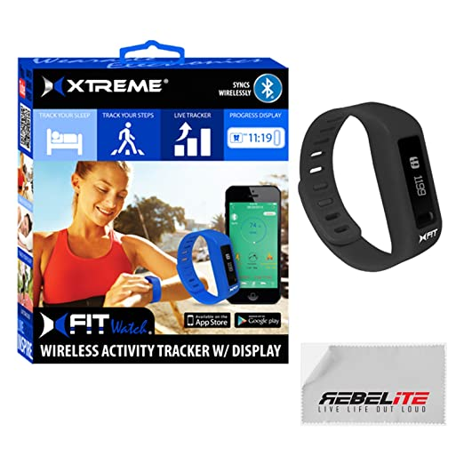 "XFIT Wireless Bluetooth Activity/Fitness Tracker Watch with 5 on screen Display modes for iPhone 6, 6 Plus, 5S, 5C, 5, 4S, 4; Samsung Galaxy S5, S4, S3; iPad Mini 3,2, 1, Air 2, Air 1, iPad 3, iPad 4, iPod Touch Gen 5; Samsung Galaxy Note 2, Galaxy Tab 4 10.1"" (w/ Android 4.4.2) (Black)"