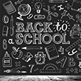 CSFOTO 5x5ft Backdrop Back to School Photography Backdrop Blackboard White Drawing School Supplies Back to School Background Student Studio Props Children Portrait Classroom Decoration Wallpaper (Color: White)