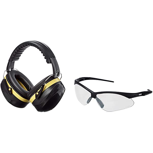 AmazonBasics Safety Ear Muffs Ear Protection, Black and Yellow, and Safety Glasses, Clear Lens (Color: Black and Yellow)