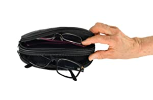 HOME-X Double Eyeglass Holder, Black Leather Pouch with 2 Compartments, Travel Bag, Toiletry Pack, Pencil Case