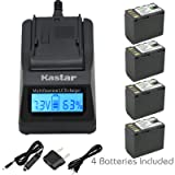 Kastar Fast Charger and Battery (4-Pack) for JVC BN-VF823 BN-VF823U and GZ-HD6 GZ-HD7 GZ-HD10 GZ-HD30 GZ-HD40 GZ-HD300 GZ-HD320 GZ-HM1 GZ-HM110 GZ-HM200 GZ-HM400 GZ-HM80 GZ-HM90 GZ-X900 GC-PX100 (Color: 15 (COMBO: 4 BATTERIES + 1 ULTRA FAST CHARGER KIT))