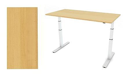 Casa/Oficina pequeña _ Sit-Stand negro o blanco marco y efecto madera MFC parte superior 1200mm x 800mm, altura: 640–1290mm, motor doble de gama alta y silenciosa