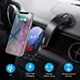 Flow.month Wireless Car Charger Mount,Automatic Infrared Smart Sensor Clamping Qi 10W 7.5W Fast Charging,Universal Adjustable Dashboard Cell Phone Wireless Charging Air Vent Holder