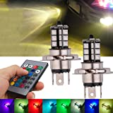 Fog Light, JAYEJA Remote Control Lights H4 5050 27SMD RGB LED Bright Fog Bulbs Lights Lamp Replacement High Power Daytime Running Light Lamps 7 Colors 4 Mode Alternately Switch - Pack of 2 (H4) (Tamaño: H4)