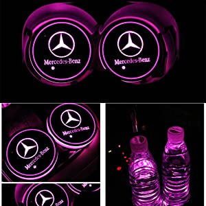 Alichee LED Car Logo Cup Holder Pad 7 Colors Changing USB Charging Mat LED Cup Mat Car Atmosphere Lamp Decoration Lights 2PCS Hyundai
