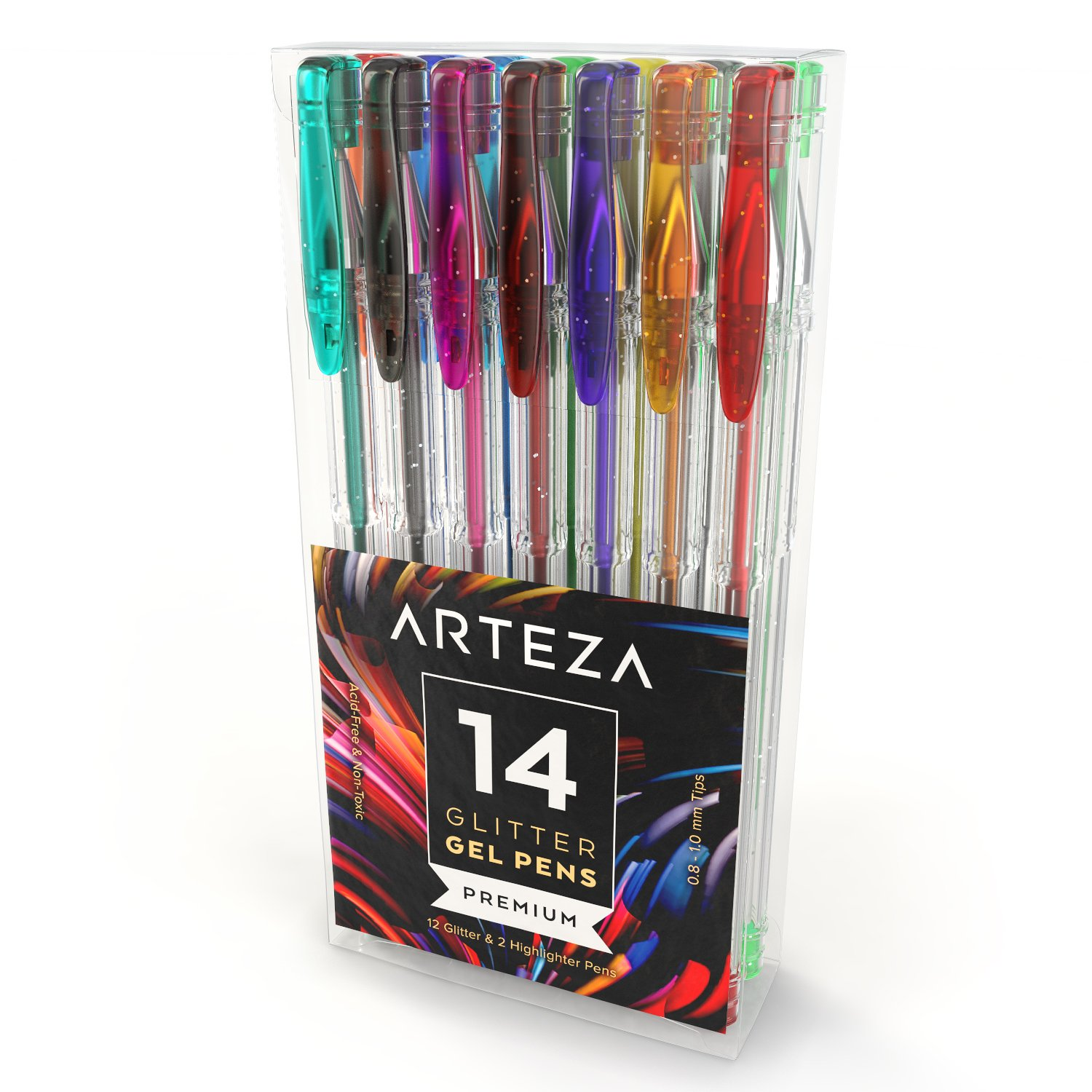 Glitter Gel Pens by Arteza, Set of 14 Superior Quality Artists Pens - Great for Coloring Books, Scrapbooks, Greeting Cards & Journals - Acid Free, Non-Toxic - 100% Satisfaction Guarantee