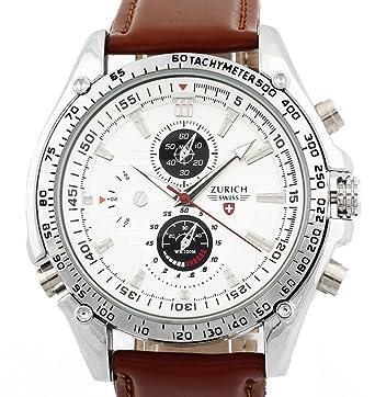 Men's Brown Leather Strap White Dial Quartz Movement Wrist Watch