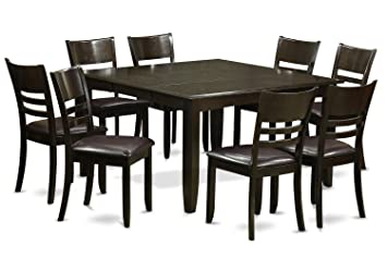 East West Furniture PFLY9-CAP-LC 9-Piece Dining Room Table Set, Cappuccino Finish