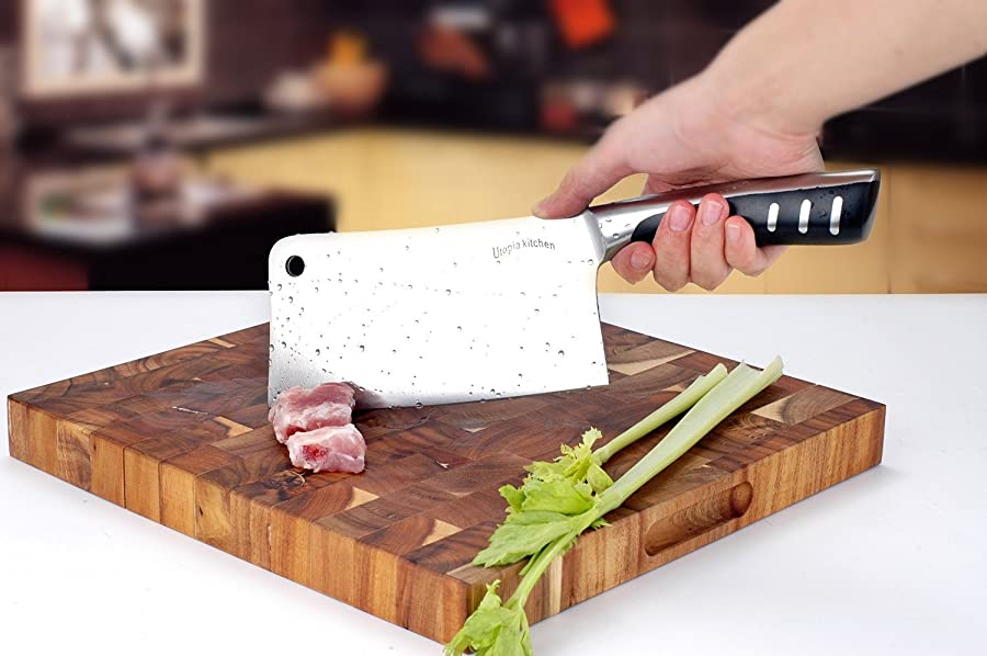 7 Inch Stainless Steel Chopper - Cleaver - Butcher Knife - Multipurpose Use for Home Kitchen or Restaurant by Utopia Kitchen via Amazon