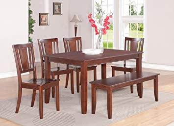 East West Furniture DUDL6-MAH-W 6-Piece Dining Table Set