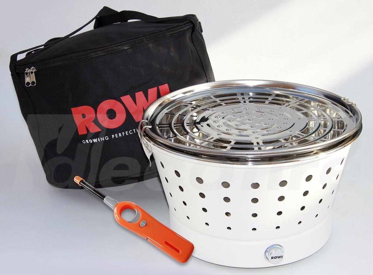 Holzkohle Tischgrill ROWI VIVA Classic – Grillerette – Weiss, mit Tasche und Stabfeuerzeug – LongLife Edelstahl Kohlebehälter kaufen