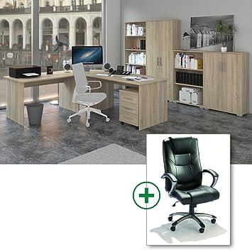 Arbeitszimmer 9-teilig - Möbel Komplett Set Phoenix in Sonoma Eiche Dekor inklusive Burostuhl
