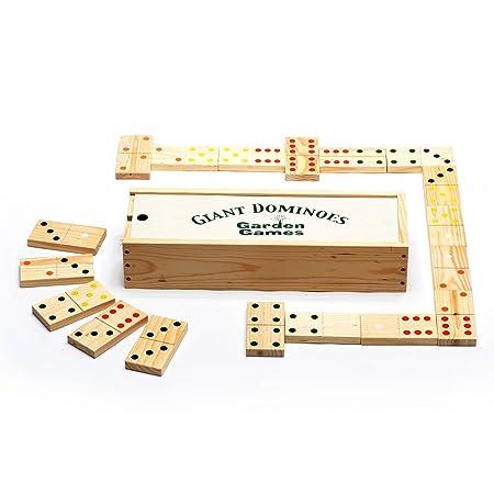 Garden Games Ltd -Jeu de dominos géants en bois avec coffret