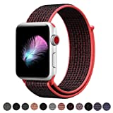 HILIMNY Compatible for Apple Watch Band 42mm, New Nylon Sport Loop, with Hook and Loop Fastener, Adjustable Closure Wrist Strap, Replacment Band Compatible for iwatch, 42mm, Red Black (Color: Loop-redblack, Tamaño: 42 mm)