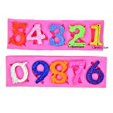 Alphabet Number 0-9 3d Silicone Mold Birthday Silicone Sugarcraft Mold Chocolate Fondant Candle Mold Cake Decoration for Baby Shower,Birthday,Anniversary (Color: Pink)