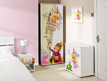 Princess Design Childrens/Kids White Bedroom Furniture Sets