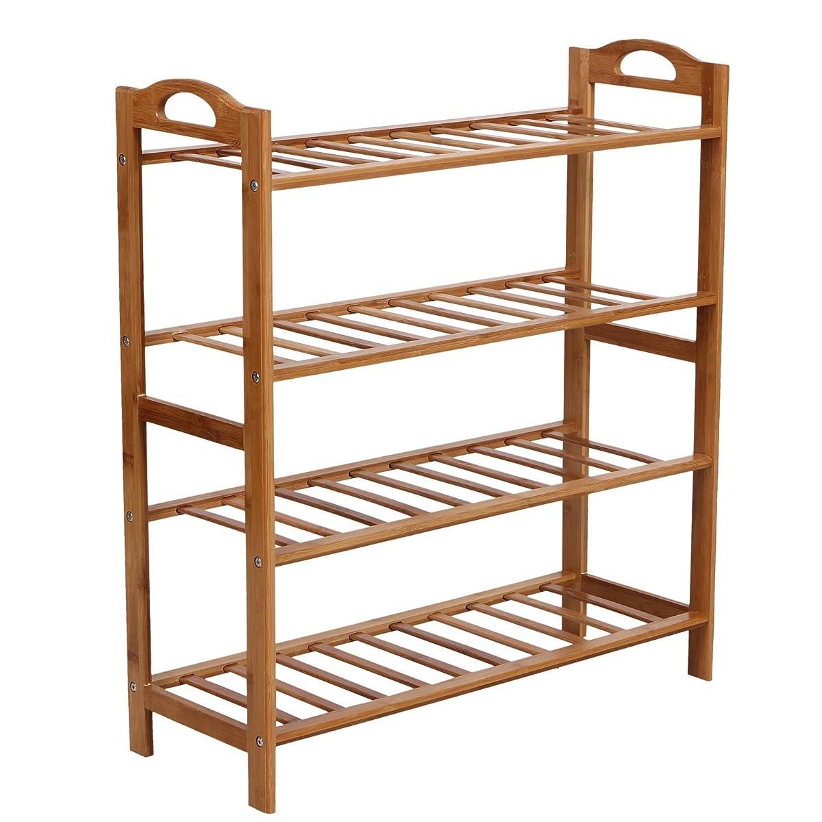 Songmics Bamboo Shoe Rack 4 Tier Entryway Shoe Shelf