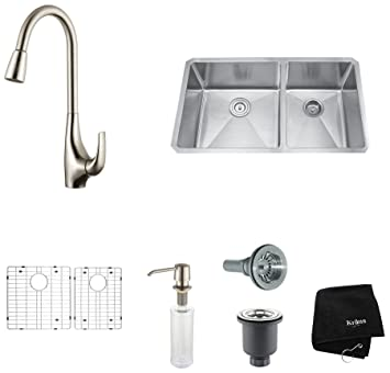 "Kraus KHU103-33-KPF1621-KSD30SS 33"" Undermount Double Bowl Stainless Steel Kitchen Sink with Stainless Steel Finish Kitchen Faucet and Soap Dispenser"