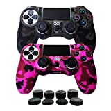Hikfly Silicone Gel Controller Cover Skin Protector Compatible for Sony Playstation 4 PS4/PS4 Slim/PS4 Pro Controller (2X Controller Cover with 8 x FPS Pro Thumb Grip Caps)(Grey,Peach) (Color: Grey, Peach, Tamaño: PS4 Print Style)