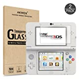[2-Pack] Akwox New Nintendo 3DS Tempered Glass Top LCD Screen Protector with HD Clear Crystal PET Buttom LCD Screen Protective Filter (Not for Nintendo 3DS)