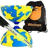 Juggle Dream Jester Medium Diabolo (Y/Blu) with Aluminium Diablo Sticks (incl string) & Firetoys Bag (Color: Yellow and Blue, Tamaño: Medium)