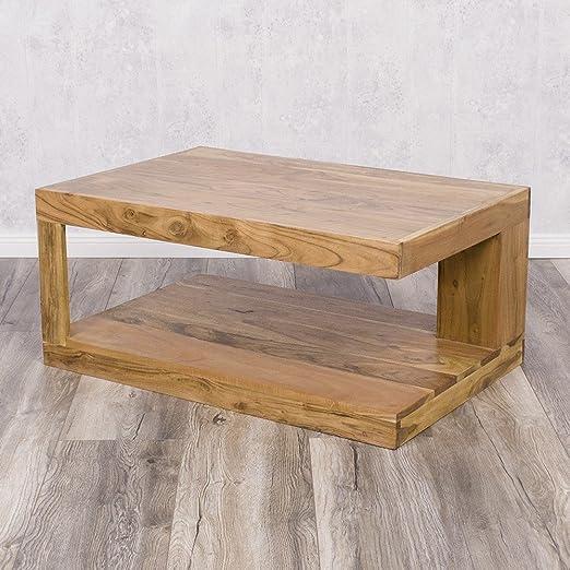 Couchtisch SHIVA Stone-A 90x60cm Akazie Massivholz TV-Board Wohnzimmertisch