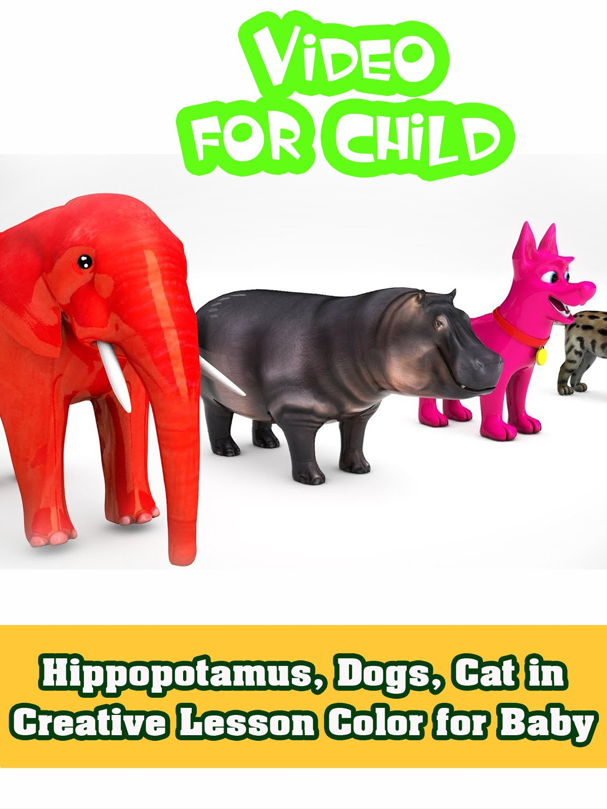 Hippopotamus, Dogs, Cat in Creative Lesson Color for Baby