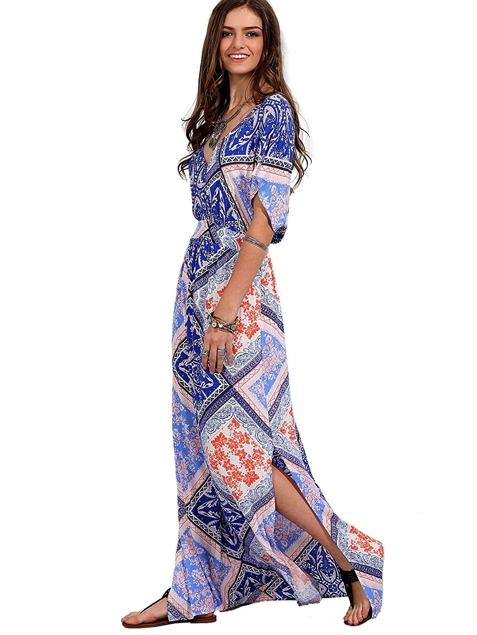 Milumia Women's Boho Split Tie-Waist Vintage Print Maxi Dress 2