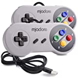 2 Pack USB Controller for SNES Retro Gaming, miadore USB Classic Gamepad Joypad Gamestick for Windows PC MAC Linux Raspberry Pi 3 (Color: white, Tamaño: small)