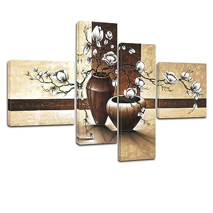 "Bilderdepot24 Wandbild ""Blumen M1"" - 100x70cm 4 teilig - fertig gerahmt. P213"