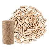 328 Feet Jute Twine and 100 Pcs Natural Wooden Clothespins Interior Decorating Photo Paper Peg Pin Graft Clips Natural Arts Crafts Jute Rope Durable Packing String for Gardening Applications (Tamaño: Twine & Clips)