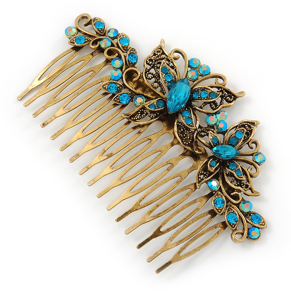 Vintage Inspired Teal Blue Swarovski Crystal 'Butterfly' Side Hair Comb In Antique Gold Tone - 105mm 0