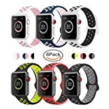 AdMaster Compatible for Apple Watch Bands 38mm,Soft Silicone Replacement Wristband for iWatch Apple Watch Series 1/2/3 - S/M 6pack (Color: Y-6 Pack, Tamaño: 38mm S/M)