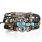Susenstone Multilayer Leather Bracelet , Handmade Beaded Bracelet ,Blue Eye Bracelet Vintage Hollow Carved Bracelet (Multicolor)
