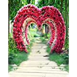 A.Monamour Computer Printed 5x7ft Wedding Ceremony Decorations Flower Arches Vinyl Fabric Photography Backgrounds Rose Flowers Heart Shaped Arch Wreath