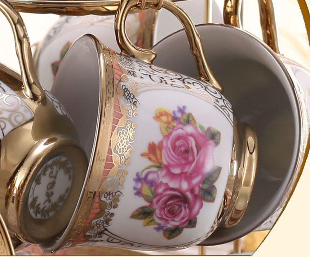 ufengkeWedding Birthday 13 Piece Gold Red Flower European-Style Chinese Ceramic Tea Set Tea Service 1