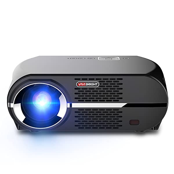 VIVIBRIGHT GP100 Video Projector,LCD 1080P Full-HD Level Image Quality,3500 LMS LED Light Output Brightness, WXGA Resolution, In Your Living Room Bedroom Meet All Entertainment,Games,Video Viewing