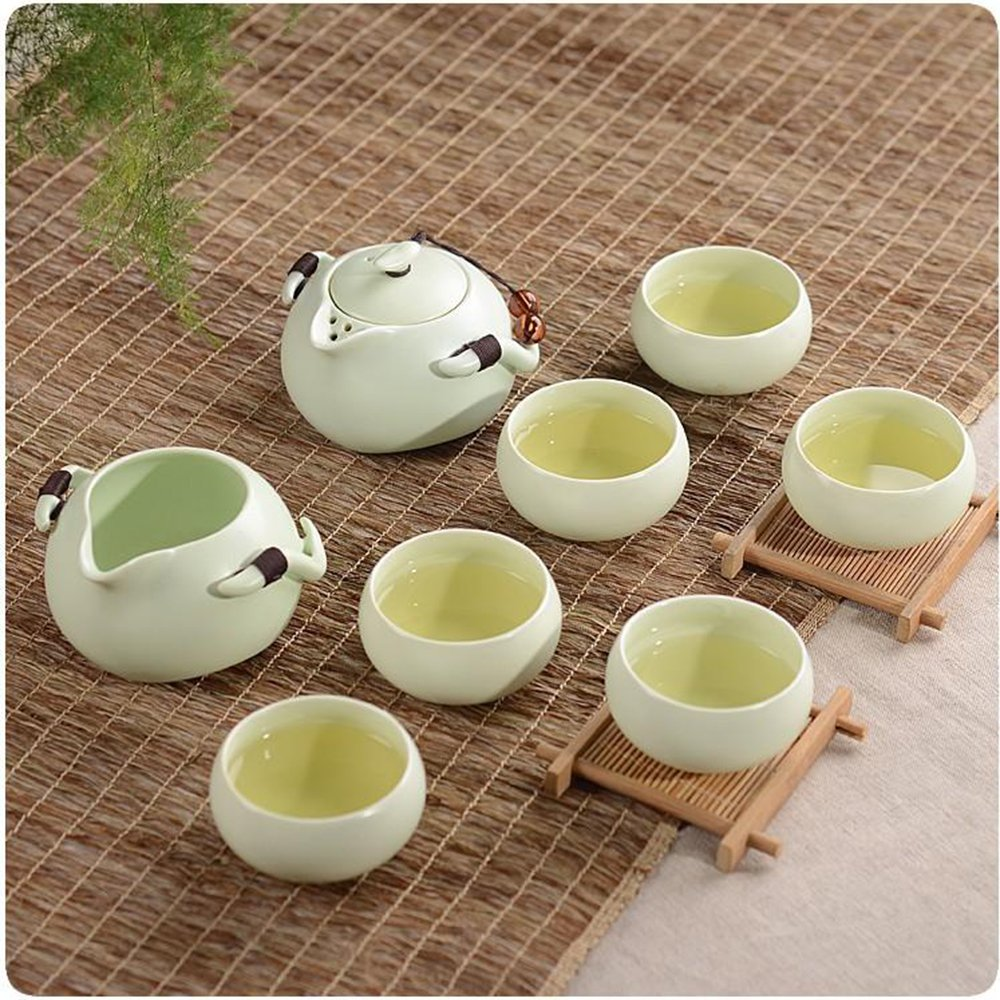 XDOBO Imported Vintage Chinese & Japanese Style Porcelain Handmade Kung Fu Tea Set, 10-pack (Green) 5
