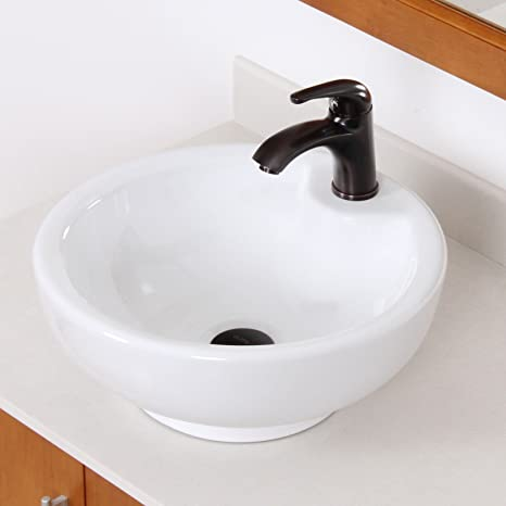 ELITE Bathroom White Bowl Round Ceramic Porcelain Vessel Sink & Short Oil Rubbed Bronze Faucet Combo