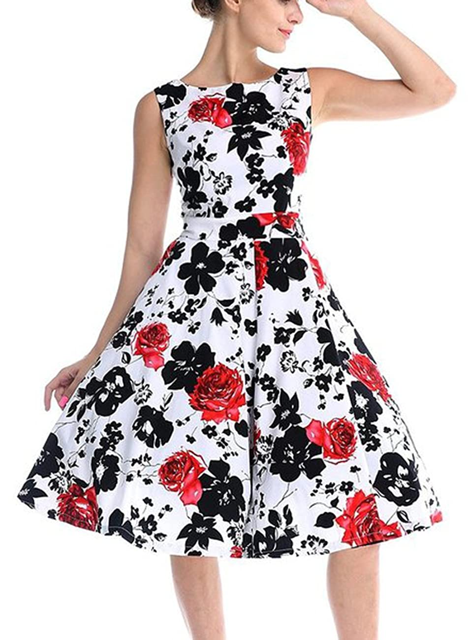 CHIC.U 1950's Vintage Floral Spring Garden Party Picnic Dress Party Cocktail Dress 2