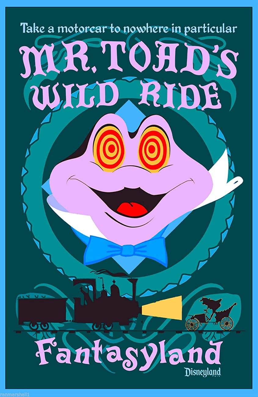 Disney Mister Toad's Wild Ride Fantasyland Anaheim Southern California Vintage Disneyland Ride United States Travel Advertisement Art Poster. Poster measures 10 x 13.5 inches 0