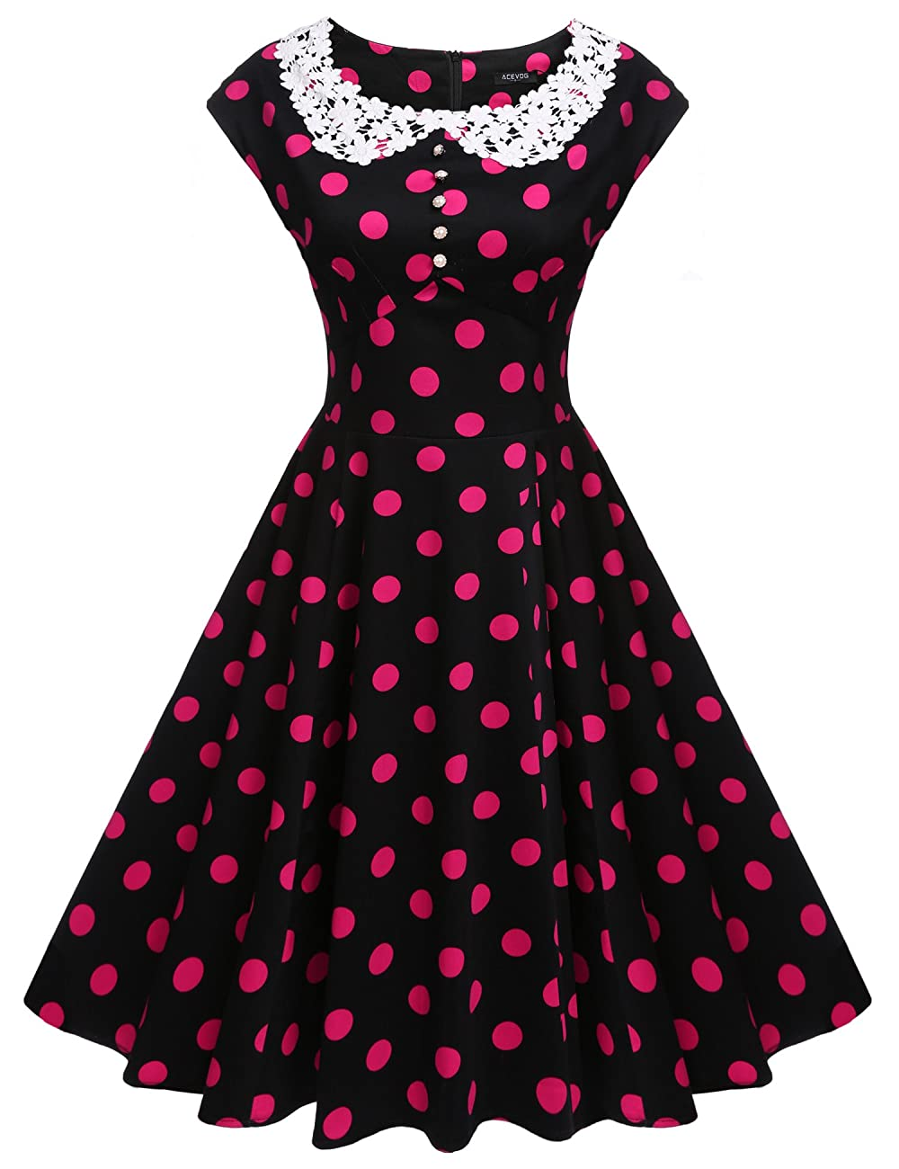 ACEVOG Women's Classy Vintage Audrey Hepburn Style 1940's Rockabilly Evening Dress 0