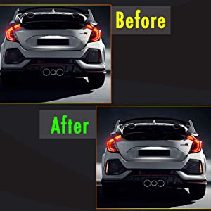 KE-KE Full LED Red Lens Bumper Reflector Lights for 2017 2018 2019 Honda Civic Hatchback Type-R 16-18 or SI 4-Door Sedan Tail Brake Rear Fog Lamps New Red Lens
