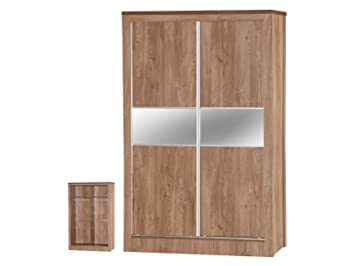 Holland Oak Effect Sliding Mirrored Wardrobe, Wood, Multi-Colour