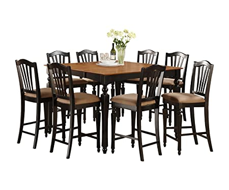 East West Furniture CHEL5-BLK-C 5-Piece Counter Height Table Set