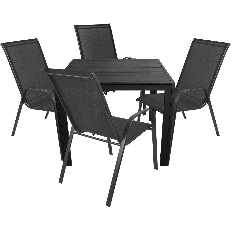 5tlg. Elegante Gartenganitur Gartentisch 90x90cm + Stapelstuhl Gartenstuhl stapelbar mit Textilenbespannung Gartenmöbel Balkonmöbel Sitzgruppe Sitzgarnitur jetzt bestellen
